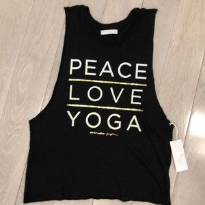 Spiritual Gangster PEACE LOVE YOGA black.  NWT.  L